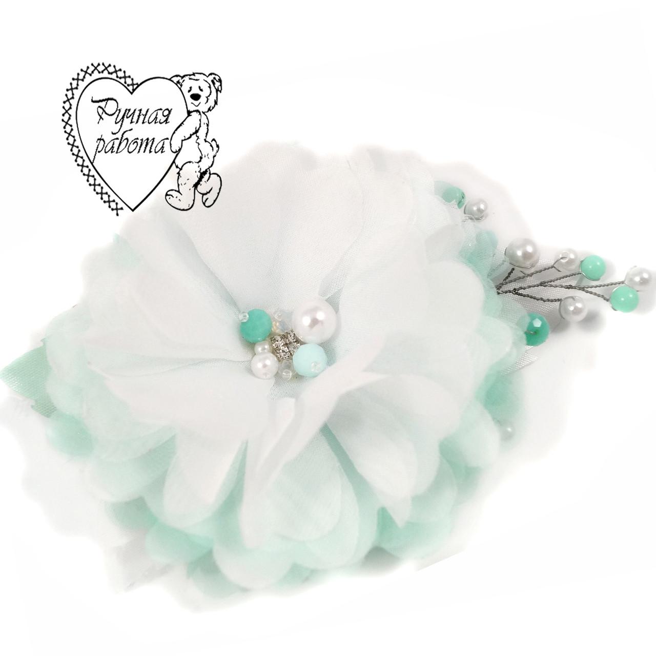 Шифоновый цветок с бусинами, на заколке или ободке, ручная работа, под заказ любой цвет
