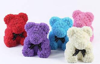 "Мишка из роз 3D, 25см ""Bear Flowers""  (темно-розовый) + подароч. упаковка, фото 3"