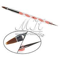 Кисть для геля и дотс 2в1, крученная ручка №4