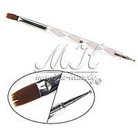 Кисть для геля и дотс 2в1, крученная ручка №10