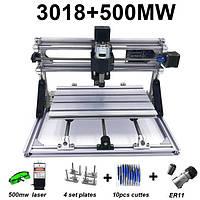 Гравер CNC 3018 фрезерный станок ЧПУ + лазер 500 мВт