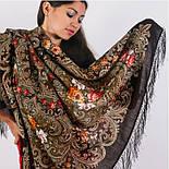 Тайна сердца 1437-17, павлопосадский платок шерстяной с шелковой бахромой, фото 5