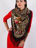 Тайна сердца 1437-17, павлопосадский платок шерстяной с шелковой бахромой, фото 6
