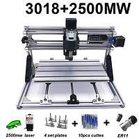 Гравер CNC 3018 фрезерный станок ЧПУ + лазер 2500 мВт