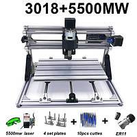 Гравер CNC 3018 фрезерный станок ЧПУ + лазер 5500 мВт