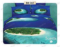 Постельное сатин 3d двухспальное  люкс с пледом в подарок