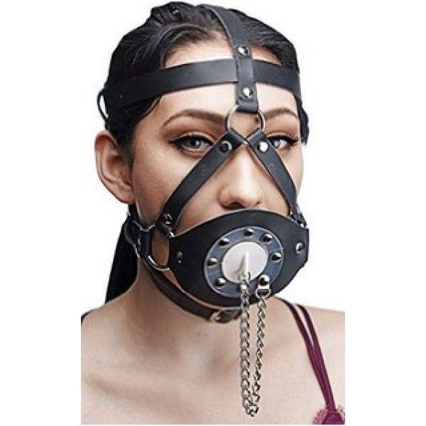 Черный кляп для рта с заклепками