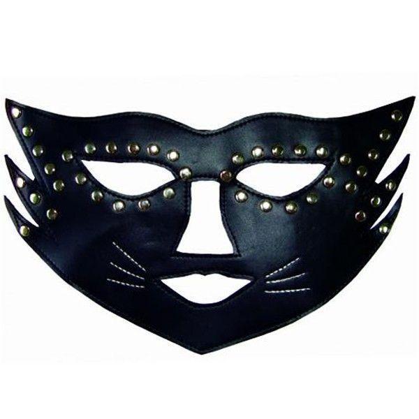 Чорна маска кішки з паєтками