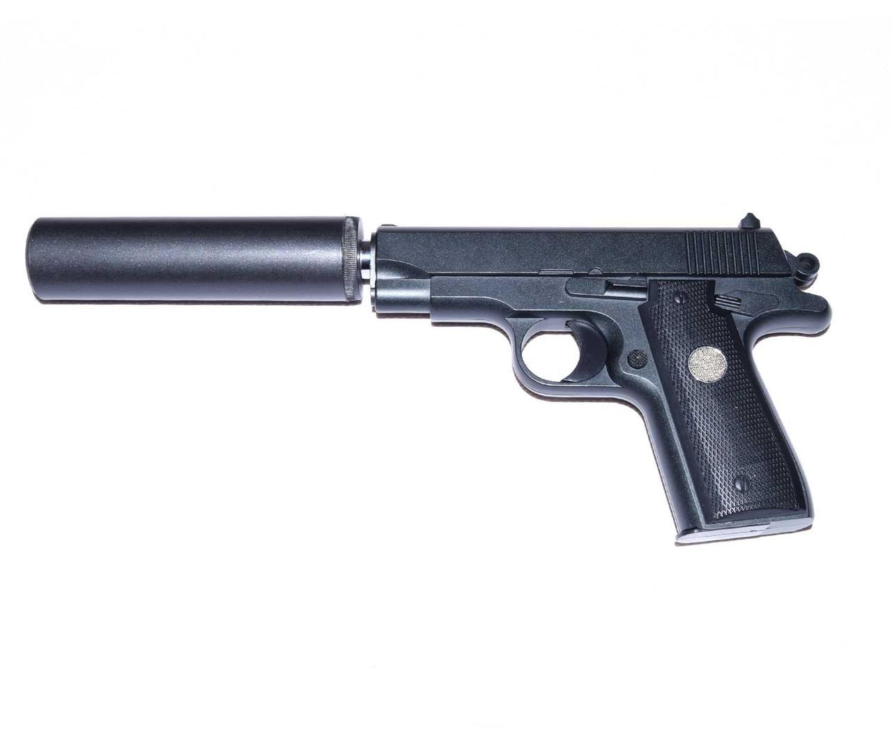Детский пистолет на пульках G.2А с глушителем, страйкбольный