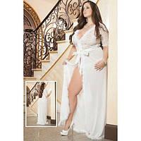 Длинный белый халатик с меховой торочкой размер Plus Size