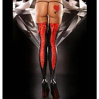 Виниловый чулки с красными завязками