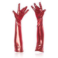 Красные длинные перчатки