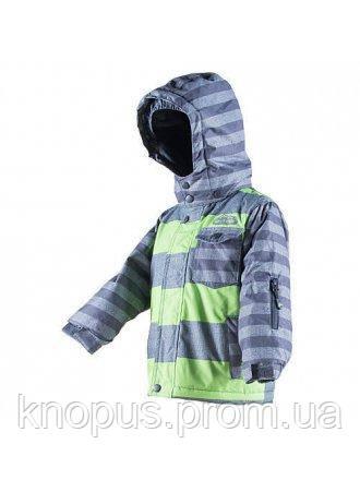 Зимняя термокуртка Pidilidi, серо-зеленая полоска, размеры 122-140