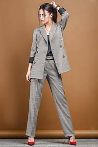 Женский брючный костюм для офиса с принтом Гусиная лапка