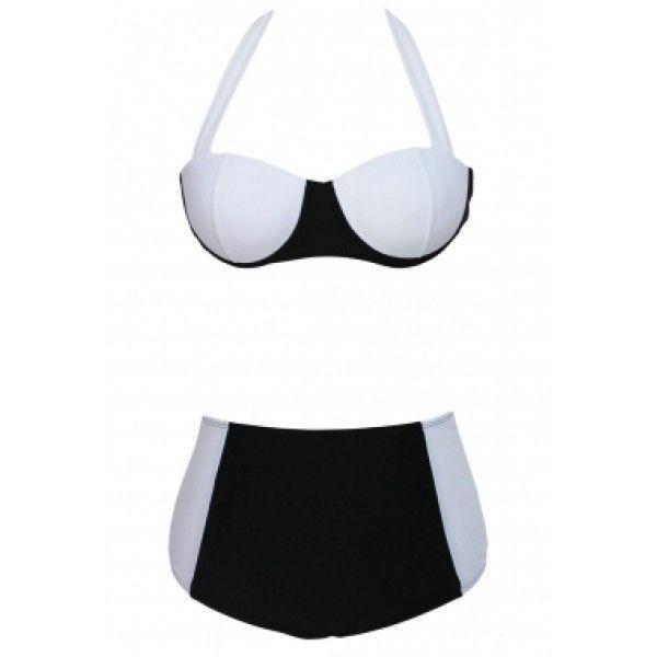 Черно-белый купальник с завышенной талией