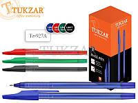 Ручка шариковаяцветной прозрачный пластиковый корпус с рельефным держателем и колпачком, наконечник глянцевый