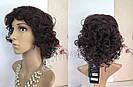 Натуральный жеснский парик, кудрявый коричневого оттенка, фото 2