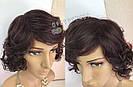 Натуральный жеснский парик, кудрявый коричневого оттенка, фото 8
