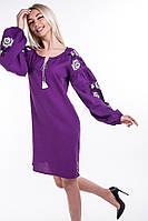 Яркое вышитое платье Очарование льняное фиолетовое