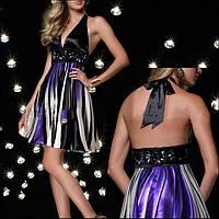 Коктейльное платье с ярким принтом и открытой спиной, фото 1