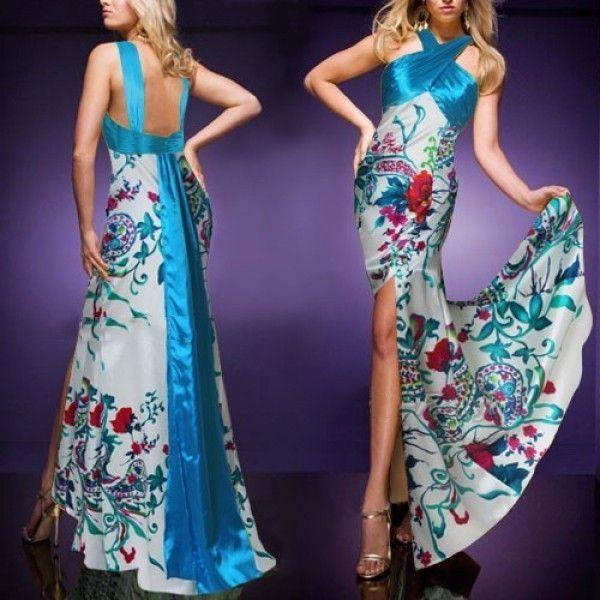 Вечернее элегантной платье с голубым принтом