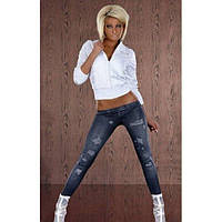 Леггинсы с принтом имитацией джинс с низкой талией