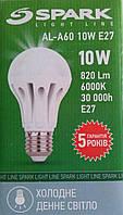 Лед лампа 10w E27 6000К А60 spark