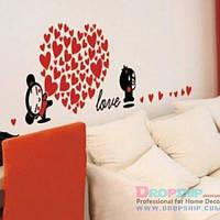 РАСПРОДАЖА! Виниловая наклейка - Love, сердце из сердечек