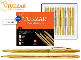 Автоматическая шариковая ручка с поворотным механизмом, в эллегантном золотом корпусе. Цвет чернил - синий.