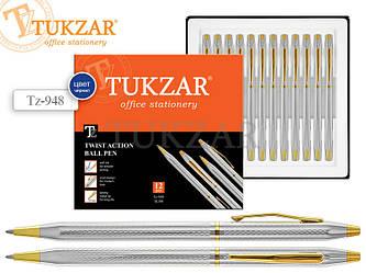 Автоматическая шариковая ручка в элегантном корпусе (серебро + золото), клип и наконечник глянцевые (золото).