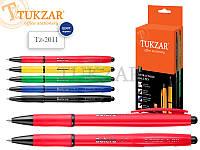 Автоматическая шариковая ручка. Корпус комбинированный: черный и цветной пластик (ассорти 5 цветов) с цветным