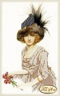 Схема для вышивки бисером Дама в меховой шляпке
