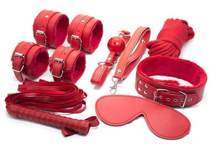 Красный BDSM набор для ролевых садо-мазо игр 7 предметов