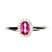 Кольцо Розовый Топаз. Размер 17. Серебро 925, покрытие белым золотом 14 карат, фото 1