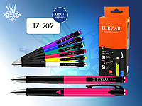 Автоматическая шариковая ручка: корпус комбинированный – цветной (ассорти 6 цветов) и черный глянцевый пластик