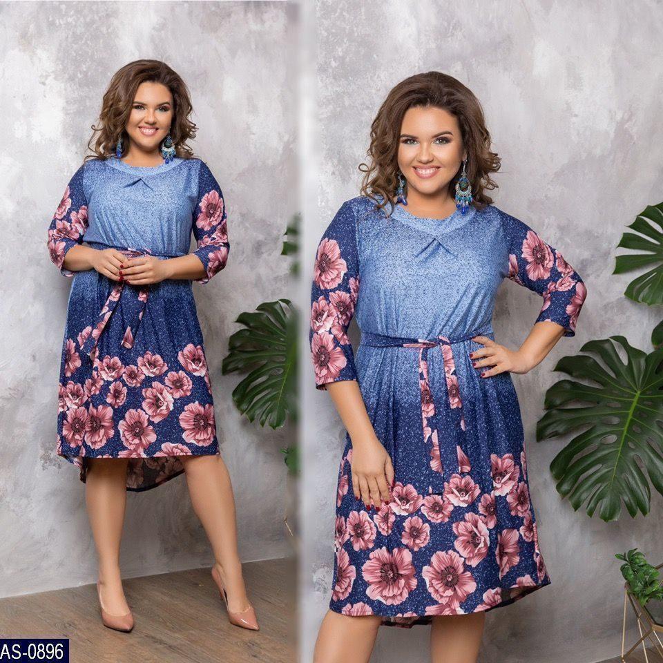 Платье женское Ткань : креп дайвинг принт купон Цвета - темно синий принт