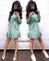 Платье пиджак женское стильное на пуговицах с карманами и оборками разные цвета Smk3019, фото 1
