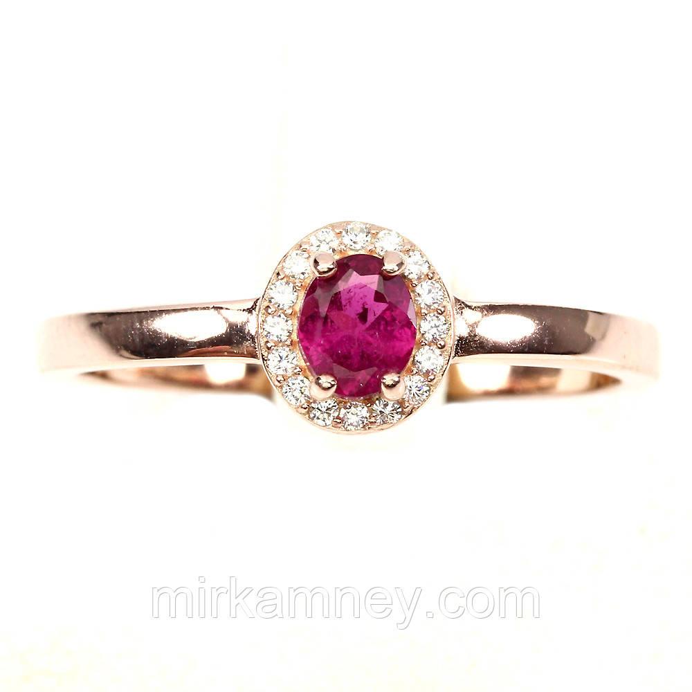 Кольцо Розовый Турмалин (Бразилия). Размер 19. Серебро 925, покрытие золотом 14 карат