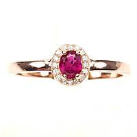 Кольцо Розовый Турмалин (Бразилия). Размер 19. Серебро 925, покрытие золотом 14 карат, фото 1