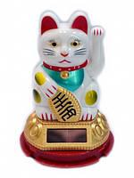 Счастливый кот Белый на солнечной батарейке 6,5х6,5х9 см.