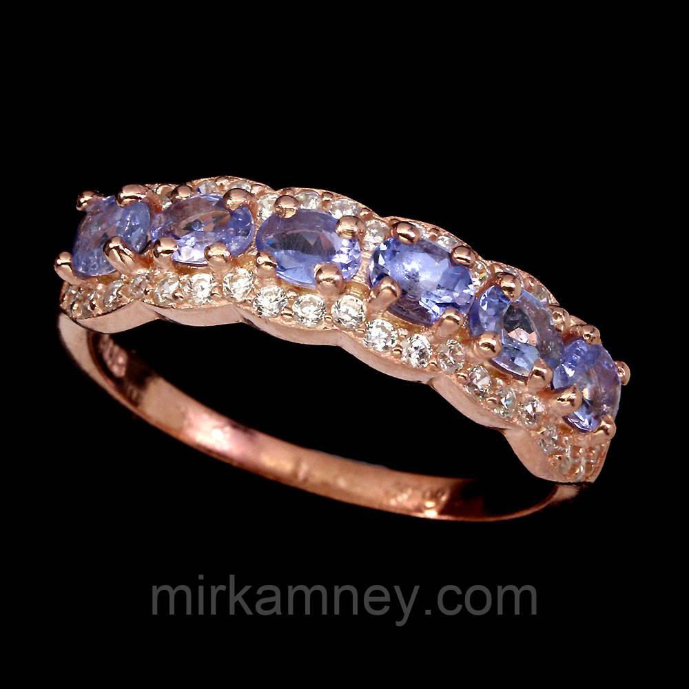 Кольцо Танзанит (Танзания). Размер 18. Серебро 925, покрытие золотом 14 карат