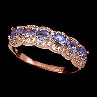 Кольцо Танзанит (Танзания). Размер 18. Серебро 925, покрытие золотом 14 карат, фото 1