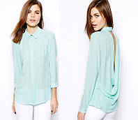 Блузка оригинальная ментол с открытой спинкой