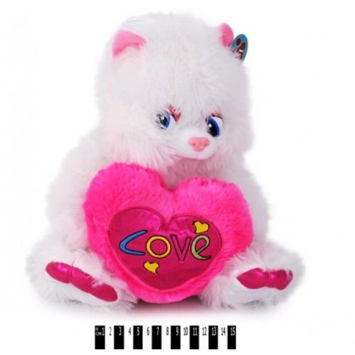 Котик белый с сердечком 1090/36