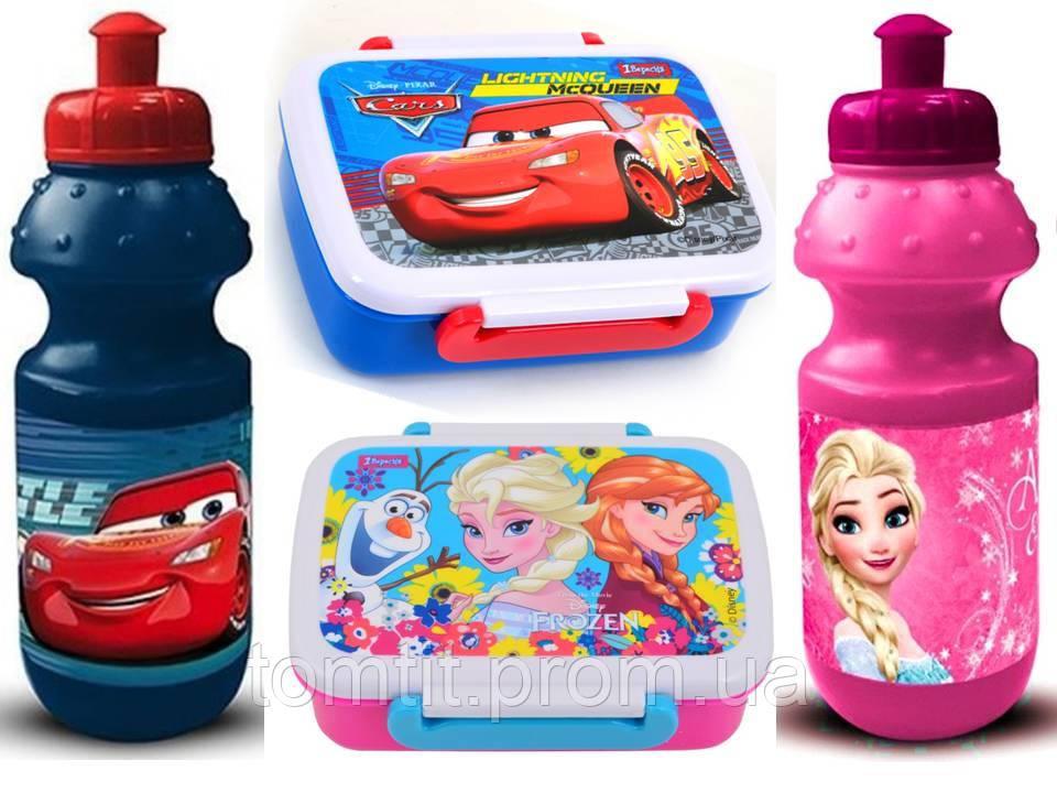 """ОПТ. Набор """"Frozen"""" и """"Cars"""": Ланч бокс (ланчбокс) + бутылка"""