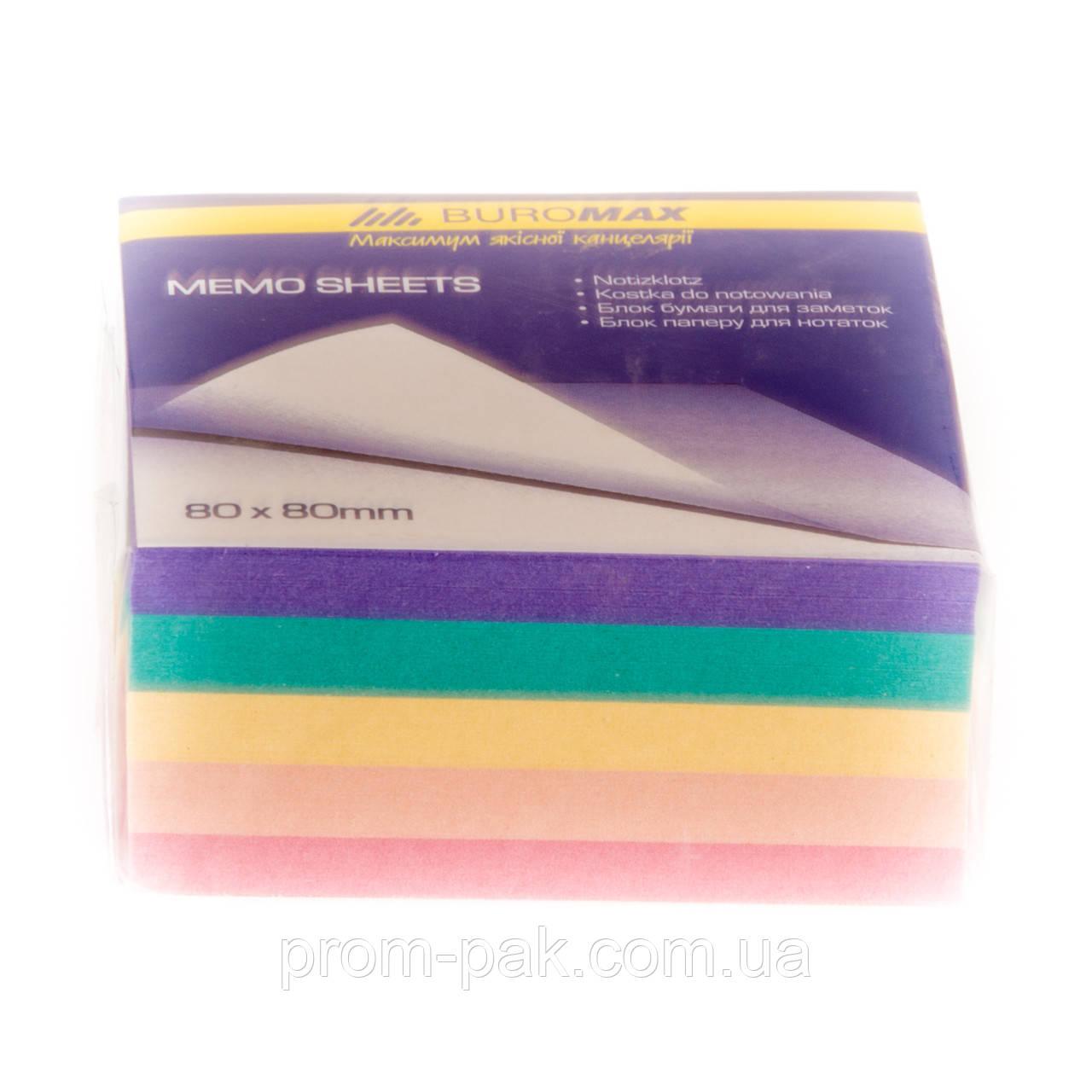 Листочки из цветной бумаги для записей Декор 80х80х300 не склеен