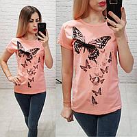 Женская футболка 100% катон бабочки Турция персиковая, фото 1