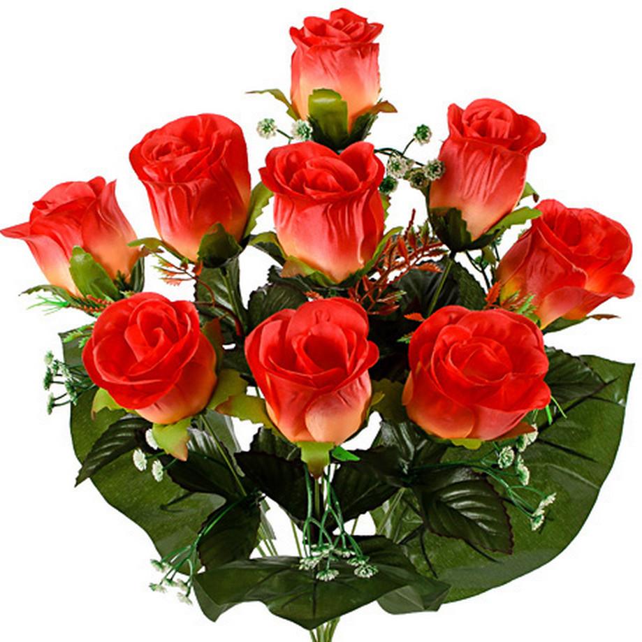 Букет крупных атласных бутонов роз, 58см (10 шт в уп)