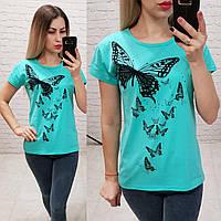 Женская футболка 100% катон бабочки Турция голубая, фото 1