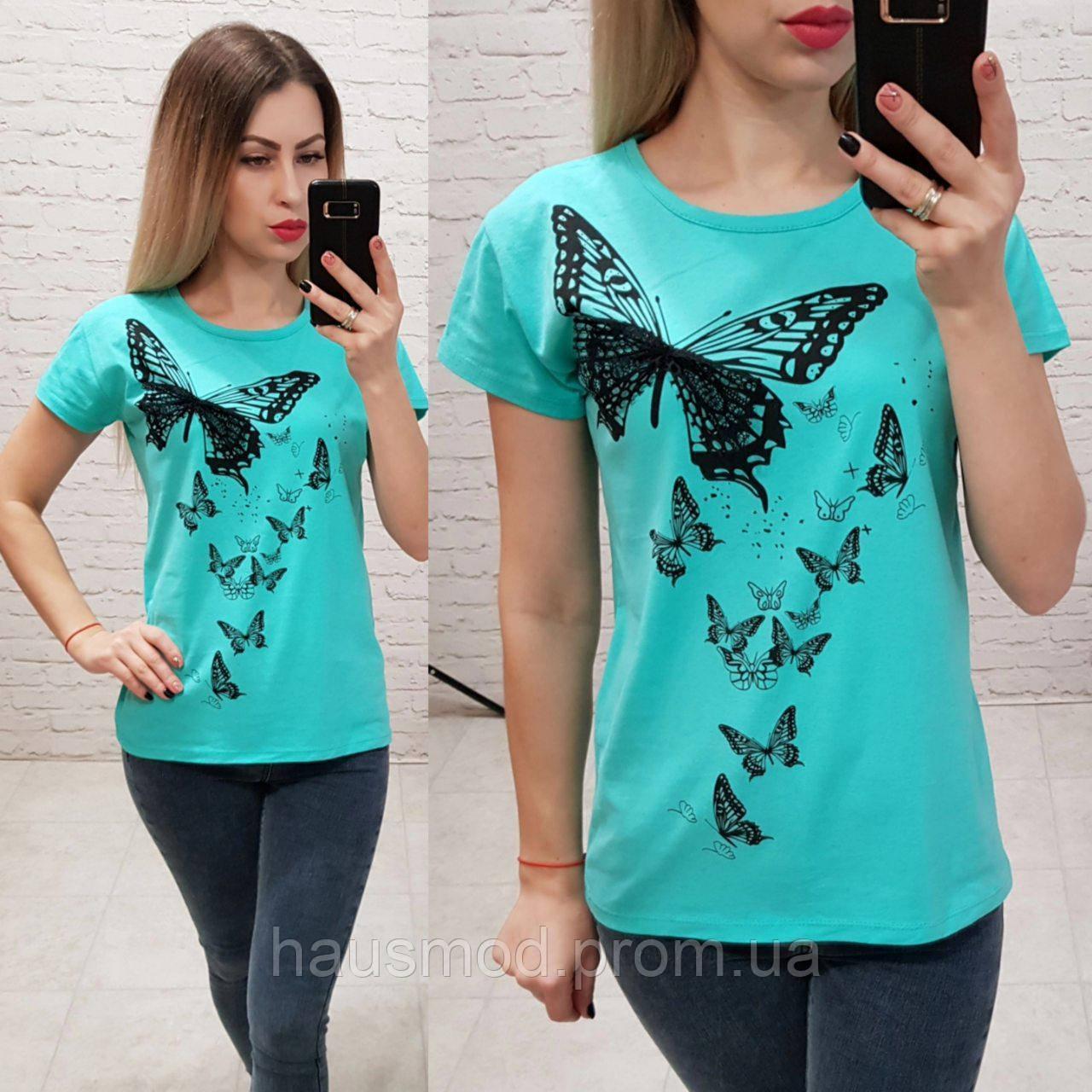 Женская футболка 100% катон бабочки Турция голубая